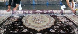 نمایی از شستشوی فرش