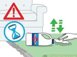 ریختن مایع سفیدکننده روی فرش